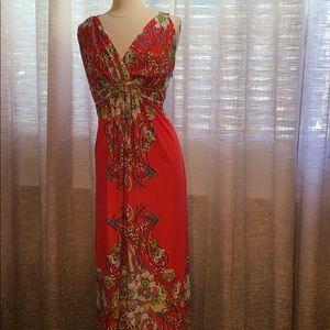 Red floral 2x maxi dress